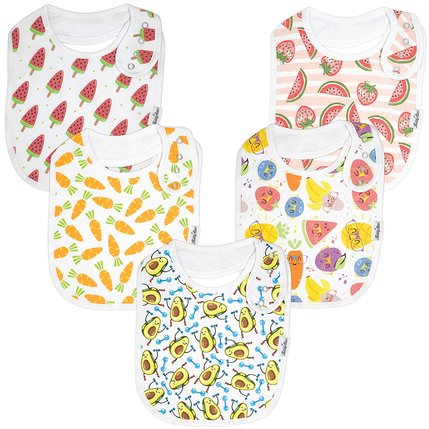 Premium, Organic Cotton Toddler Bibs, Unisex 5-Pack Extra Large Baby Bibs for Boys and Girls by KiddyStar, Baby Shower Gift for Feeding, Drooling, Teething, Adjustable 5 Positions (Carrots & 'Cados)