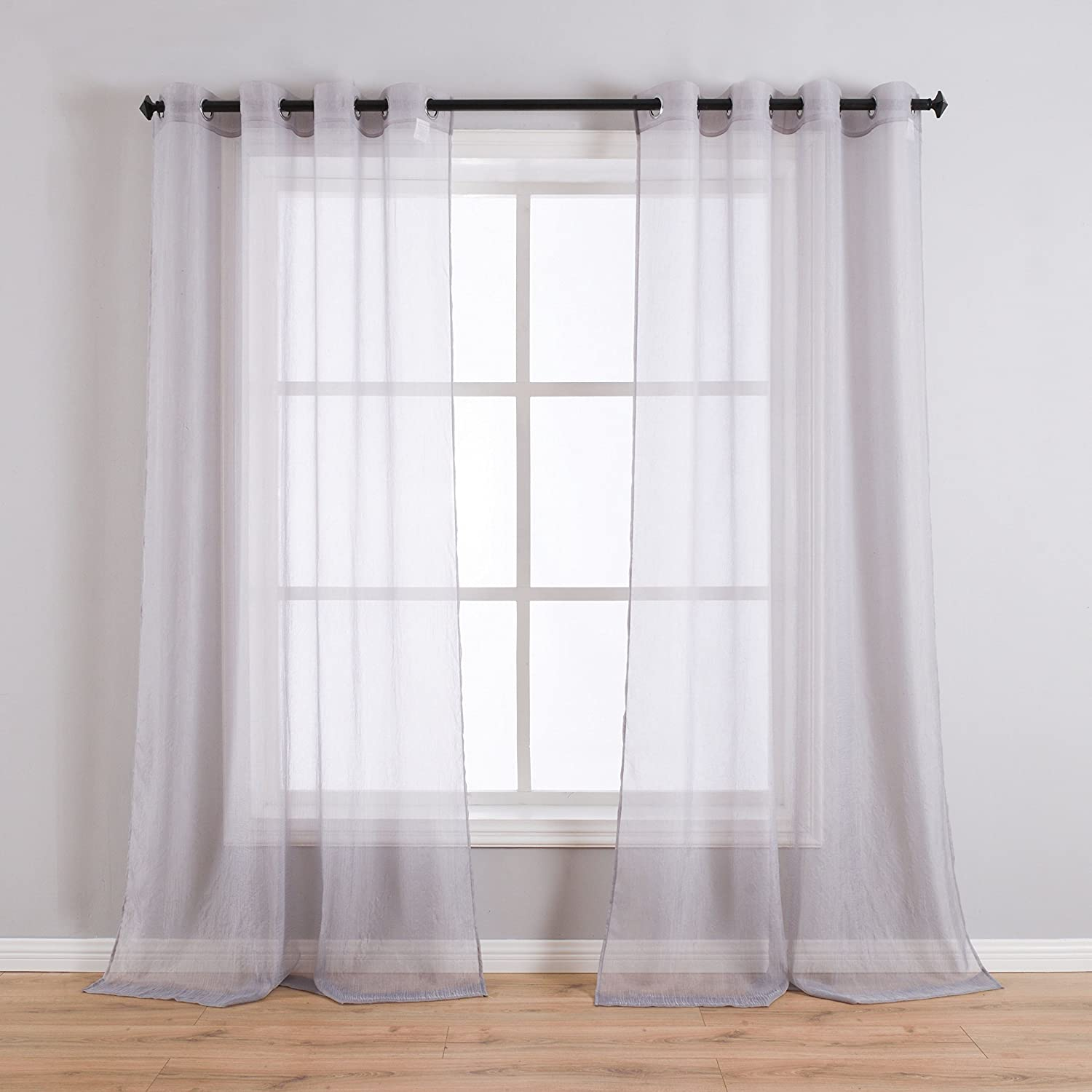 Taisier Home Beige Sheer Curtains Linen Look Semi Transparent Voile Grommet Curtains for Living Room Drapes 52 inch Wide × 84 inch Long,Set of 2 Panels Crushed Sheer Voile Drapes