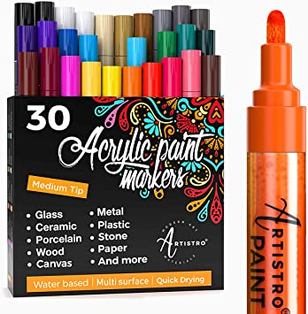 4 Pastel Colors Wood Fine Tip 1mm and Canvas DIY Craft-Making Supplies Glass Set of 15 Acrylic Paint Markers: 11 Assorted Colors Ceramic Stone Paint pens for Rock Painting