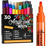 Acrylic Paint Markers Pens – 30 Acrylic Paint Pens Medium Tip (2mm) - Great for Rock Painting, Wood, Fabric, Card, Paper, Cer
