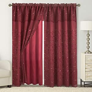 "Elegant Comfort Luxury Curtain/Window Panel Set with Attached Valance and Backing 54"" X 84 inch (Set of 2), Burgundy"