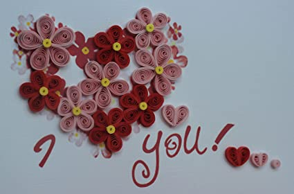 Amazon Com Handmade Quilling Card Love Valentine Card Office