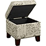 Dorel Living Script Cube Ottoman with Storage