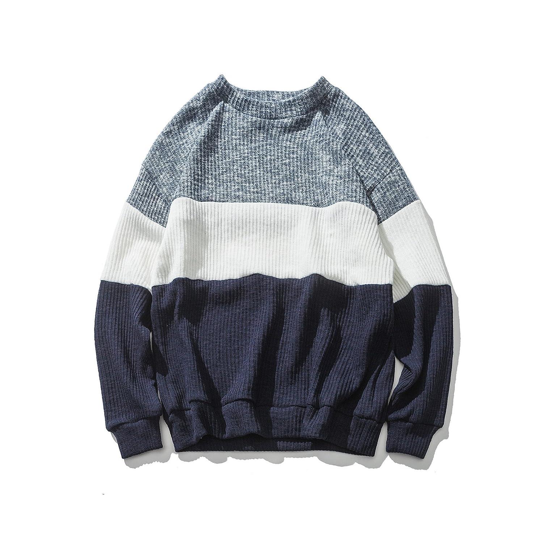 Ndsoo die japanische männer - t - Shirt, Pullover Pulli, Pullover Shirt, und männlichen Streifen ärmel Kopf gegen Farbe Pullover,Blau,L 34ad57