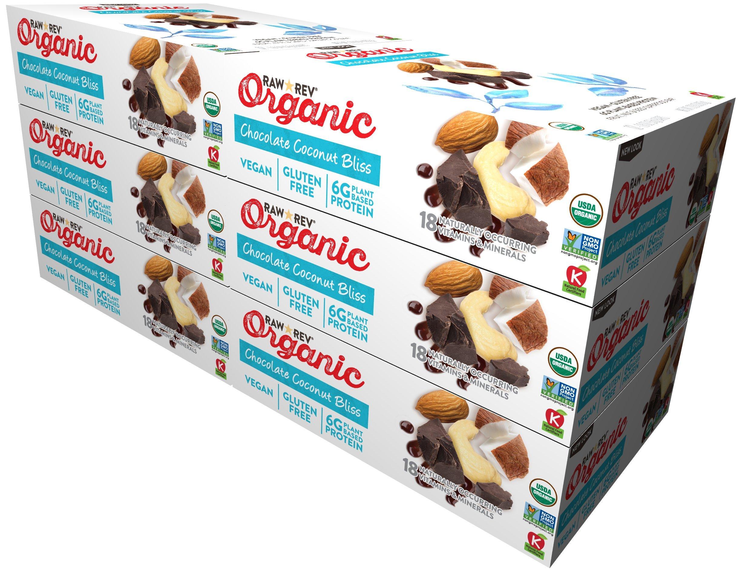 Raw Rev Organic Vegan, Gluten-Free Fruit, Nut, Seed Bars – Chocolate Coconut Bliss 1.8 ounce (Pack of 72)
