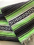 "Mexitems Mexican Falsa Blanket Authentic 52"" X 72"" Pick Your Own Color (Neon Green/Grey/Black)"