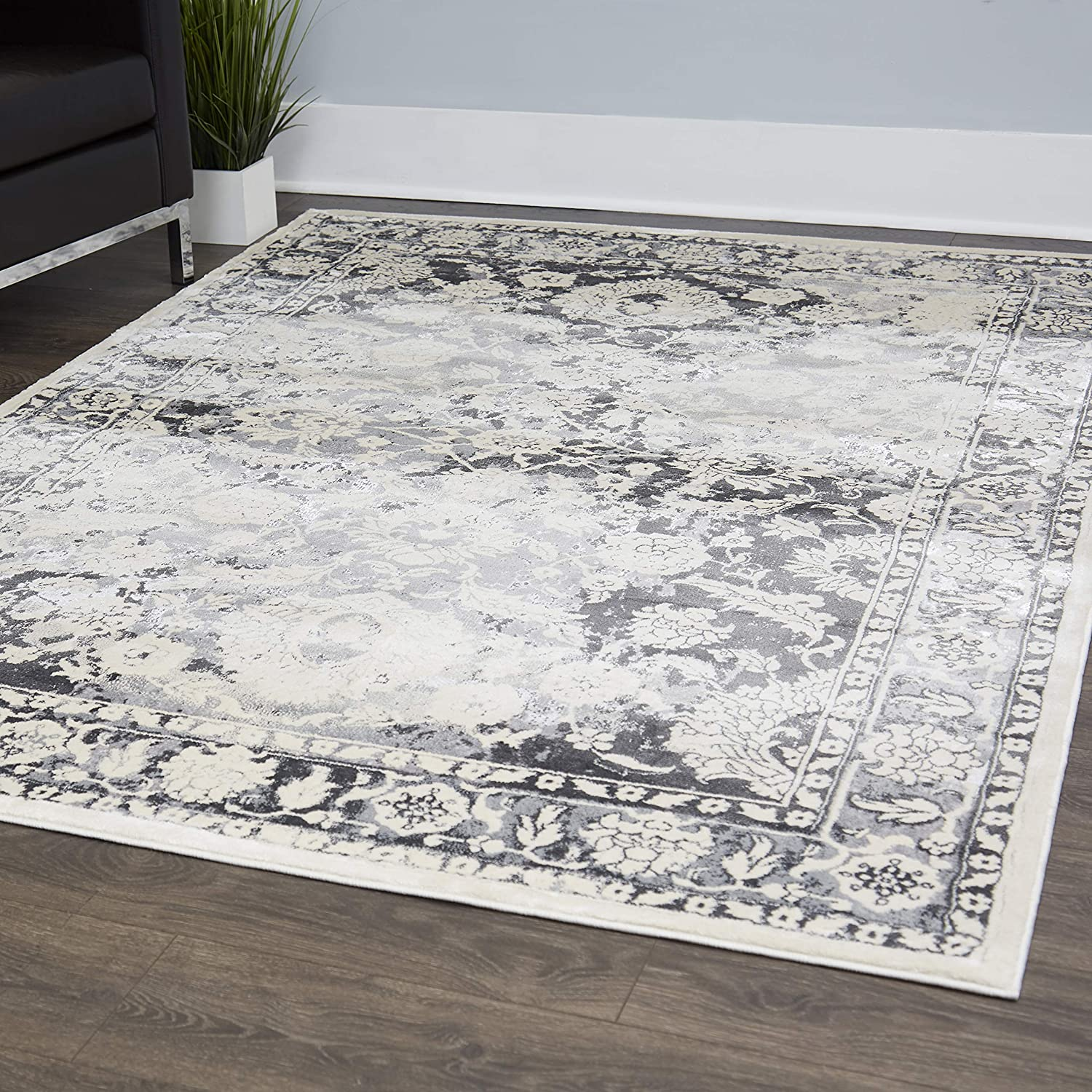 "Home Dynamix Christian Siriano New York Jersey Olympus Transitional Damask Area Rug 31""x47"" Gray-Ivory"