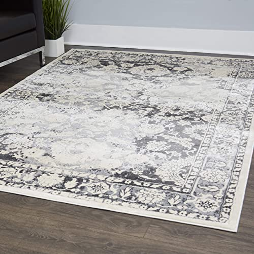 Home Dynamix Christian Siriano New York Jersey Olympus Transitional Damask Area Rug 5 x 7 Gray-ivory