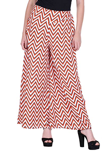 a9ed54998a206a Deewa Red White Zigzag Printed Palazzo (X-Large)  Amazon.in ...