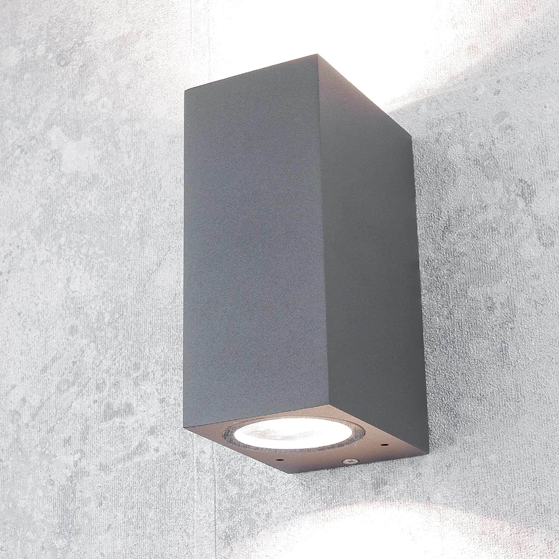 2x Design LED Außen Wand Beleuchtungen Hof Strahler ALU Glas Lampen anthrazit