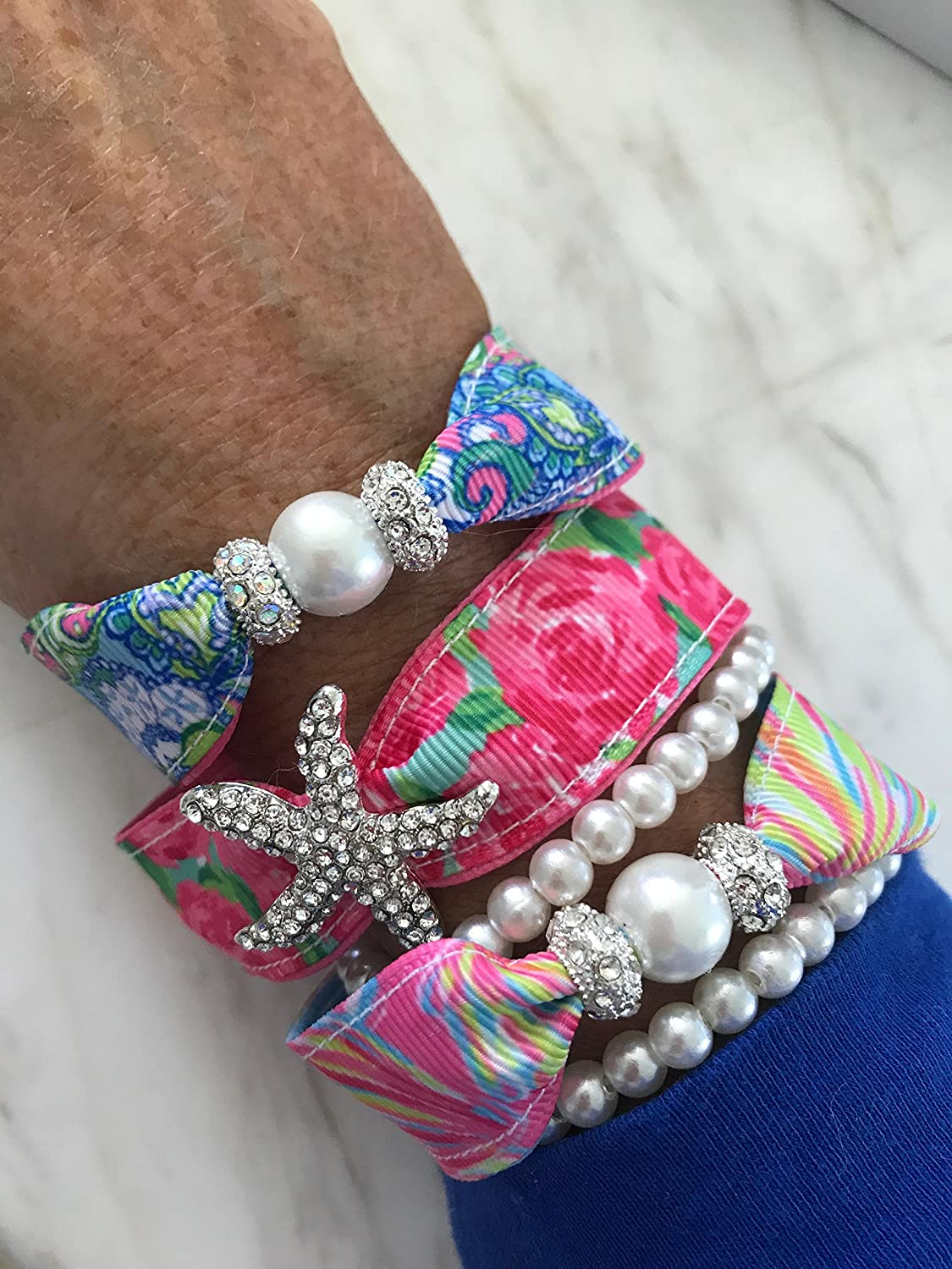 Starfish Pearl Ribbon Bracelet Set HPFI Lilly Pulitzer Ribbon