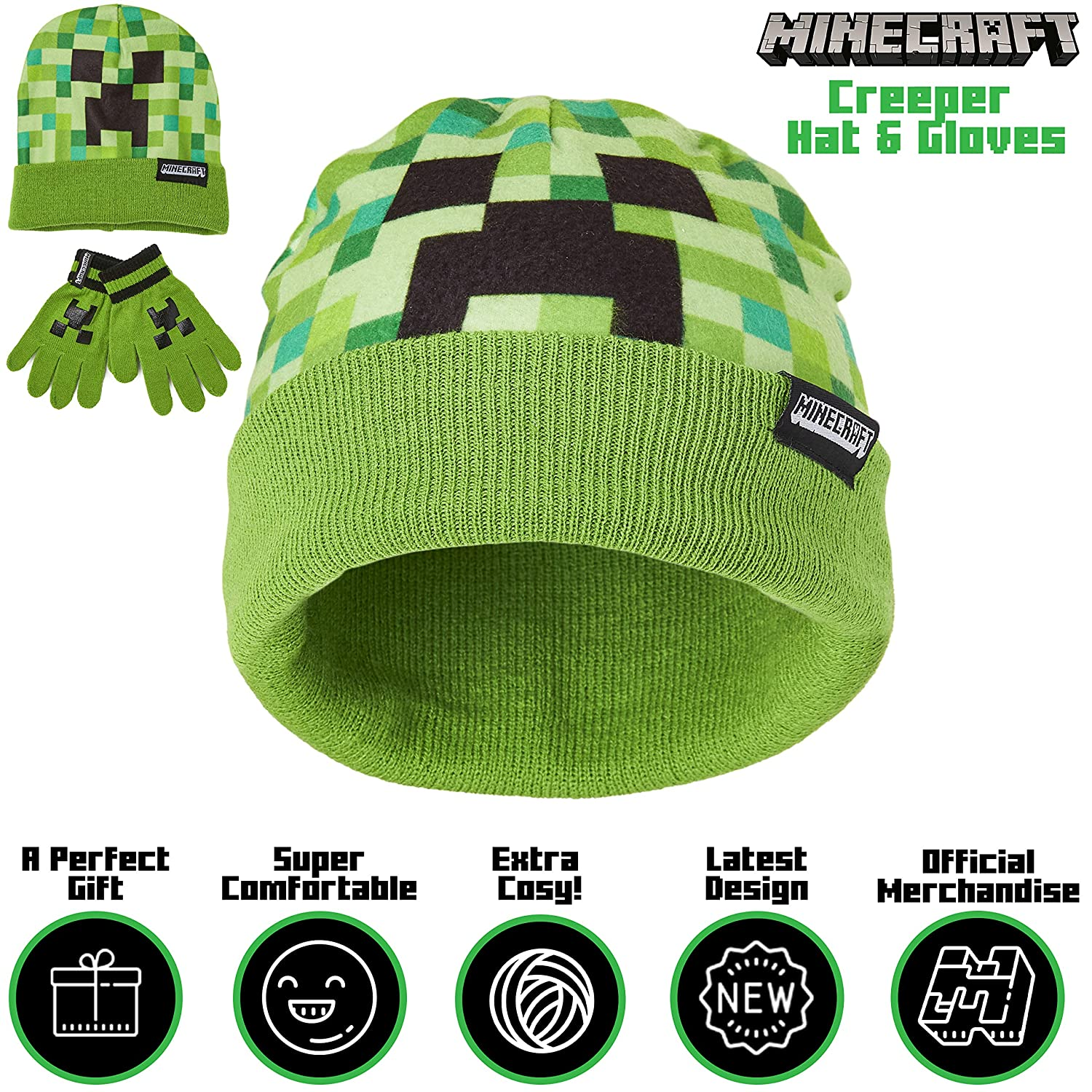 Green Beanie Hat Featuring Creeper Pixel Design Great Gaming Gift Idea for Boys or Girls Super Soft and Comfortable Kids Hat Official Minecraft Merchandise Minecraft Hat And Gloves For Boys