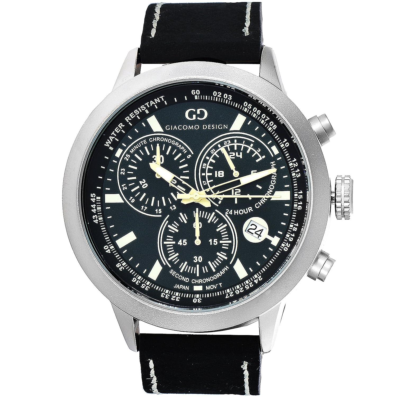 Giacomo Design GD02002 Herren-Armbanduhr Lederband Datum Chronograph