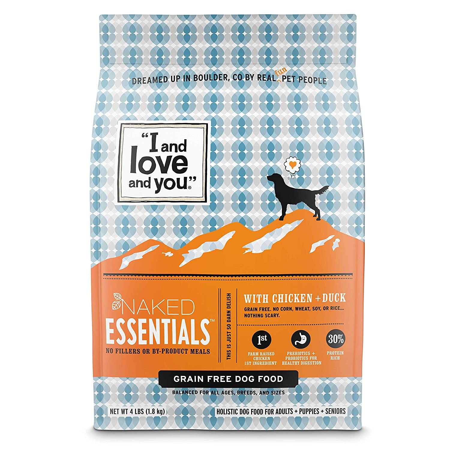 """I and love and you"" Trial Size Naked Essentials Chicken & Duck Grain Free Dry Dog Food"