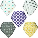 Perrassi Kids - Bamboo Baby Bandana Bibs - 5 pack of Boys and Girls - Unisex - Absorbent – Drool – Teething – Food – Dribble Bib, 100% Certified Organic Cotton - Funky and Cool Design - Perrassi Kids – Great for gifts