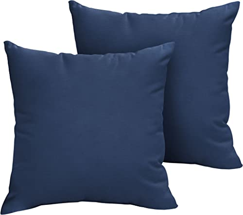 Mozaic Company AMPS100187 Indoor Outdoor Sunbrella Square Pillows, Set of 2, 20 x 20, Canvas Navy Blue