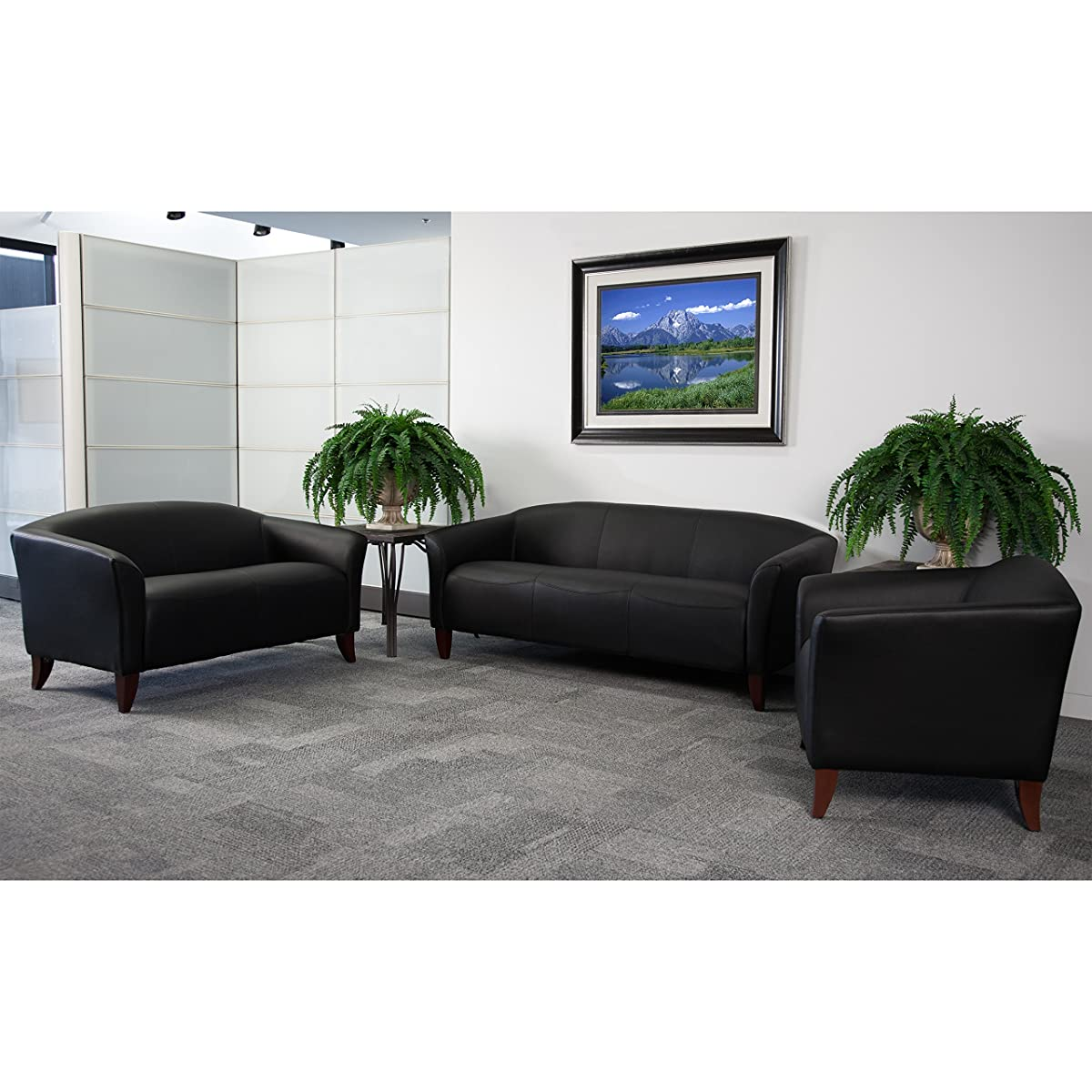 Flash Furniture HERCULES Imperial Series Black Leather Loveseat