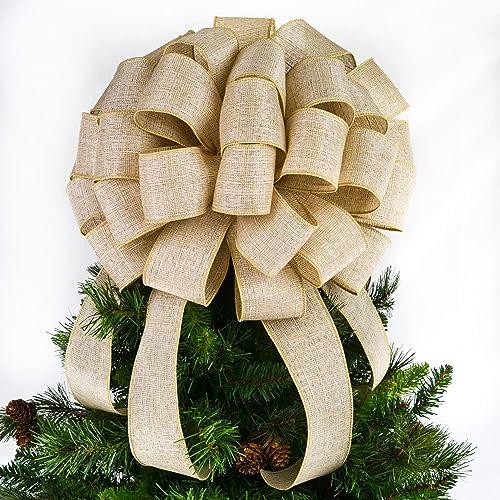 Amazon Com Burlap Tree Topper Bows Christmas Tree Bow Big