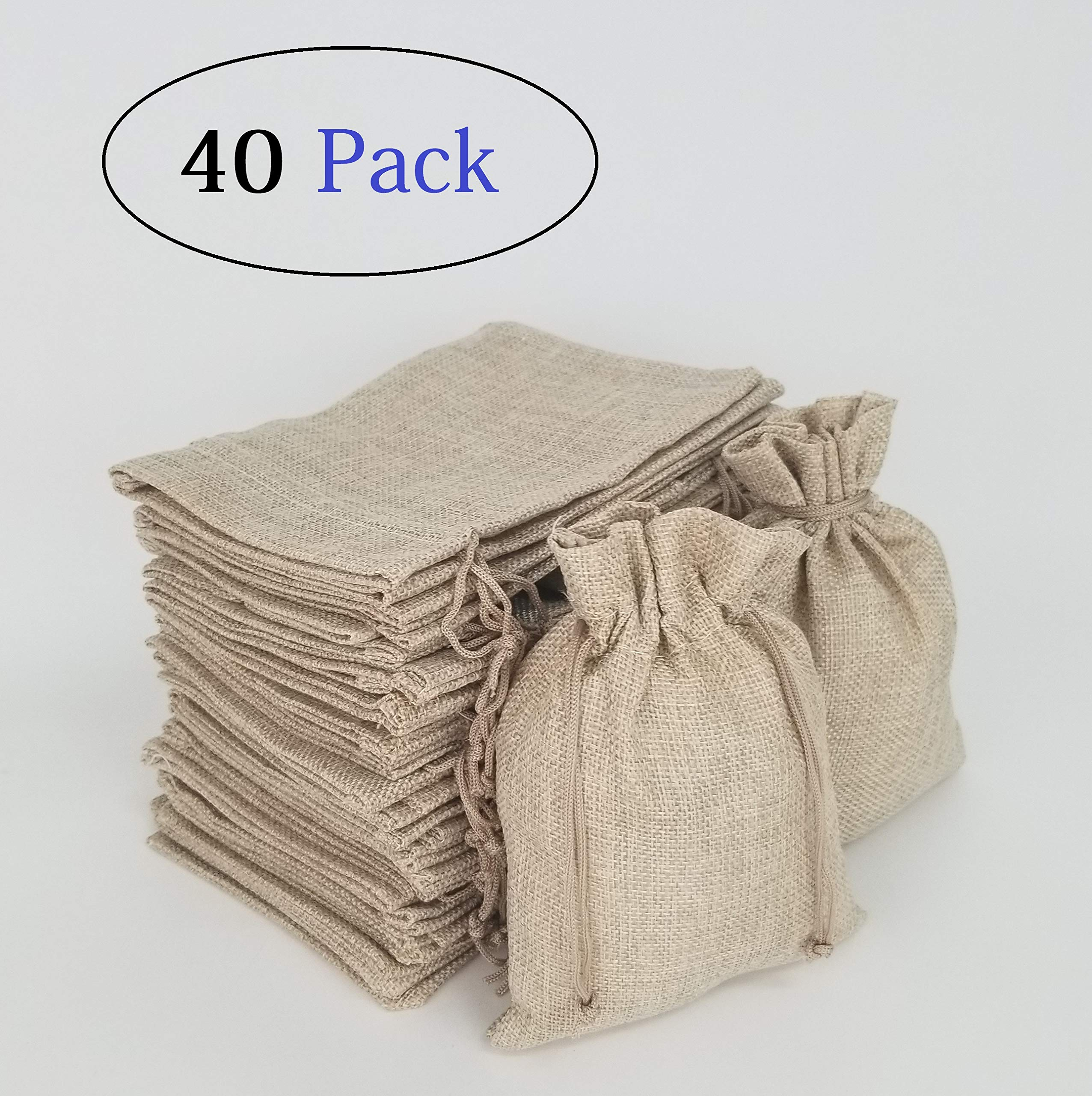 YposHome 40 Packs Burlap Bags 7 x 5 inch Gift Bag for Wedding Jewelry Pouch Snack Sacks for Party (Natural)