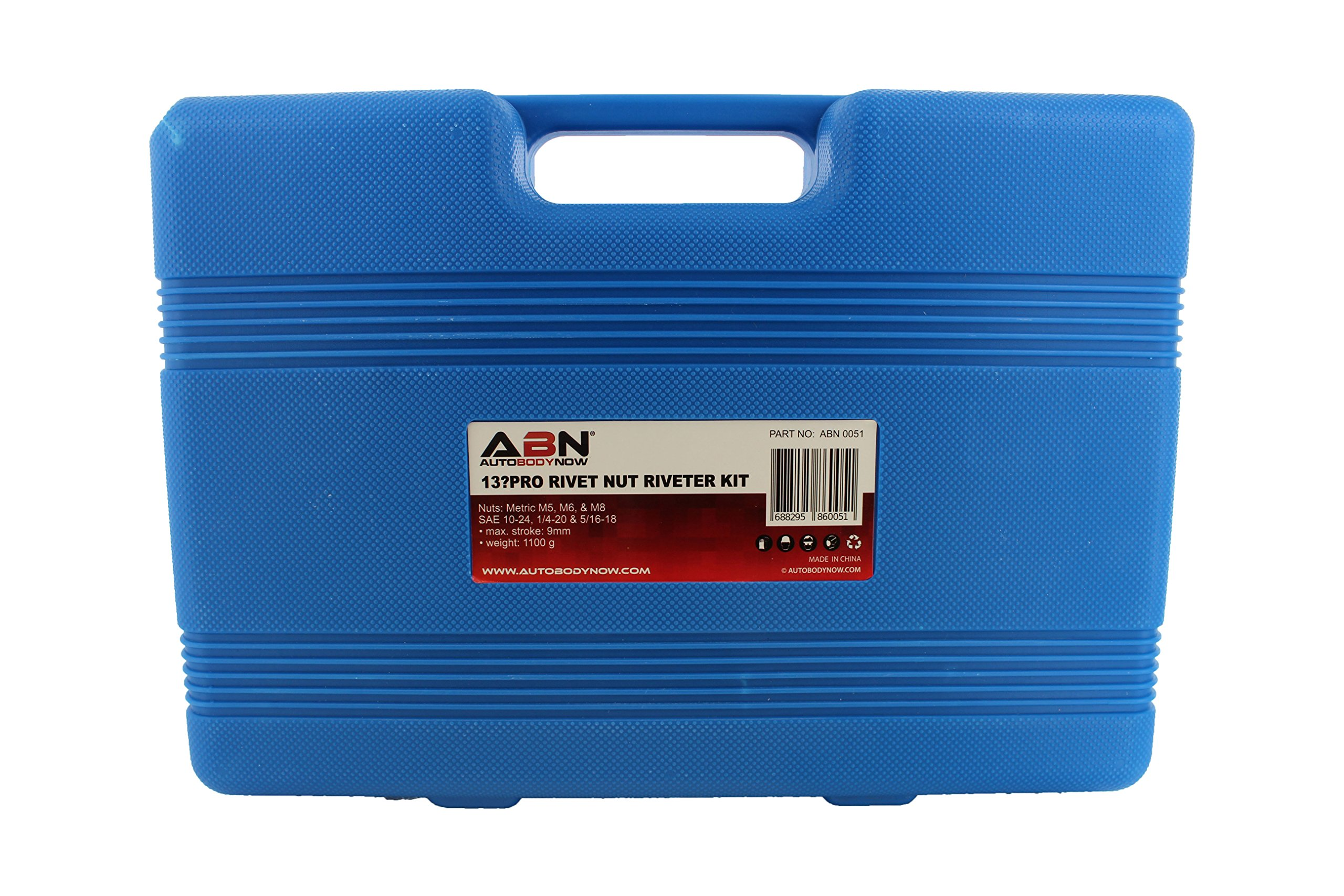 "ABN Nut & Thread Hand Riveter 17-Piece Tool Kit Set – 13"" Inch Rivet Setter Gun, Riveting Nuts, SAE & Metric Nose Sets by ABN (Image #5)"