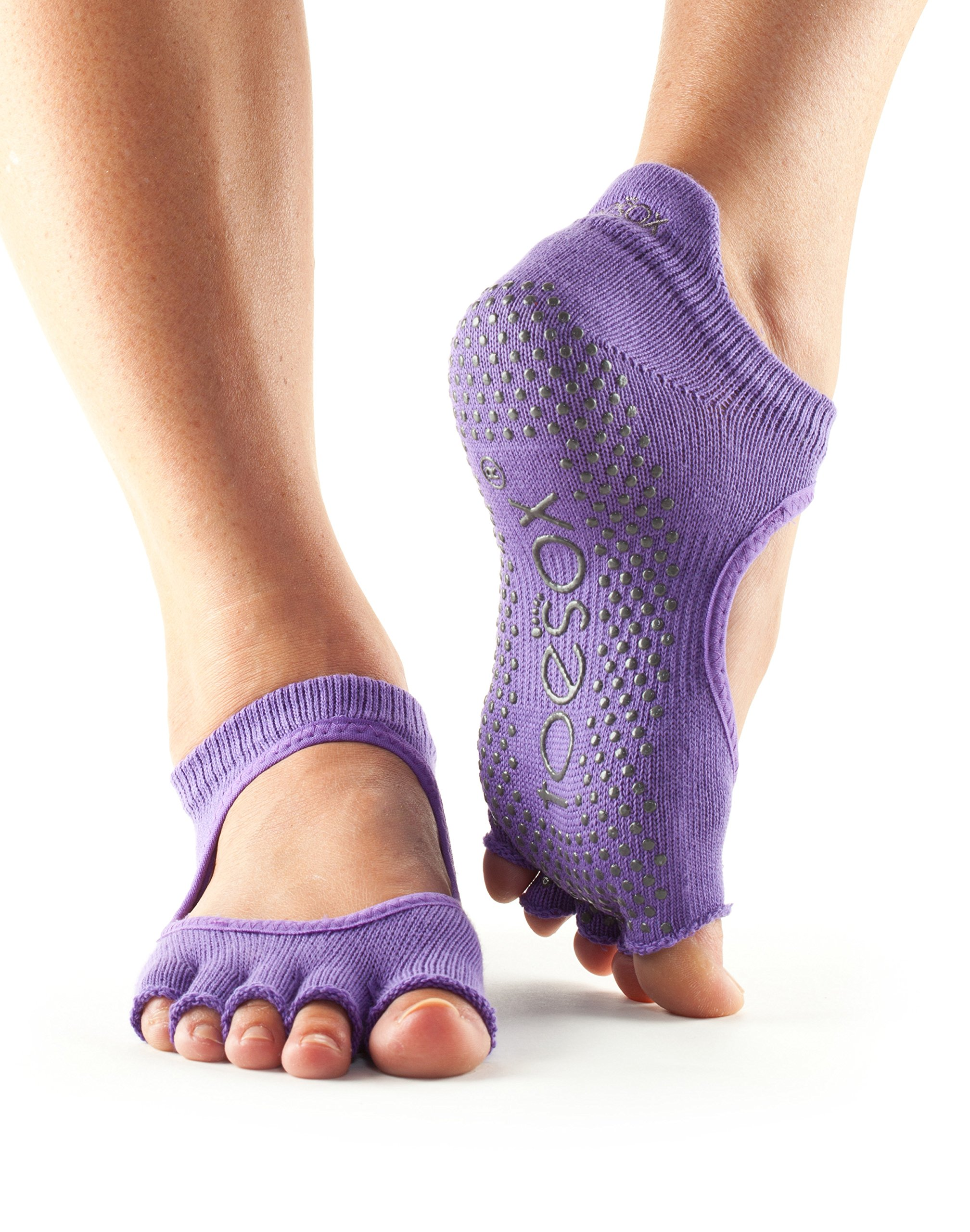 toesox Women's Bellarina Half Toe Grip Non-Slip for Ballet, Yoga, Pilates, Barre Toe Socks (Light Purple) Medium
