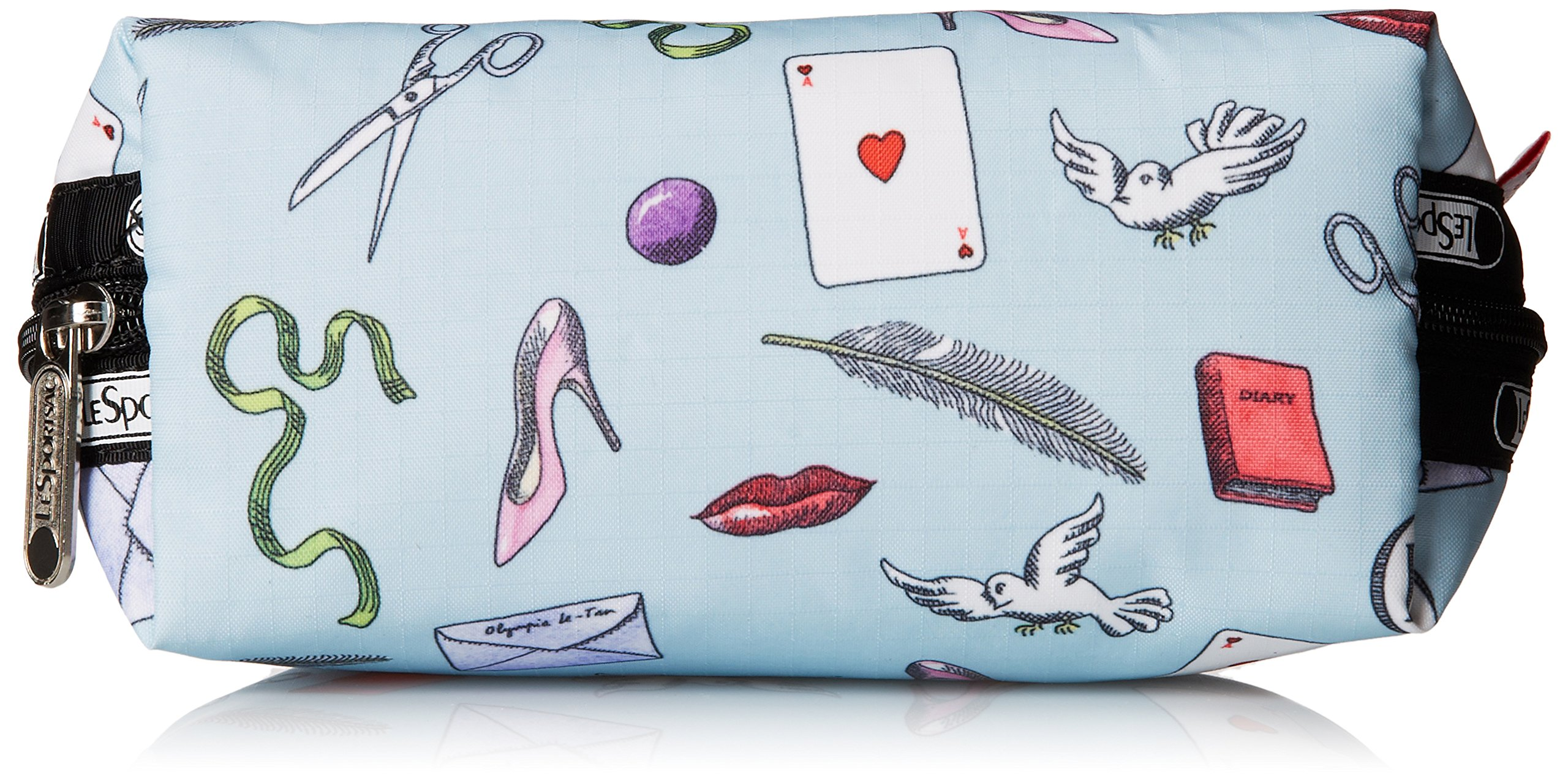 LeSportsac Medium Dome Cosmetic Case, Love Letters Blue, One Size by LeSportsac (Image #4)