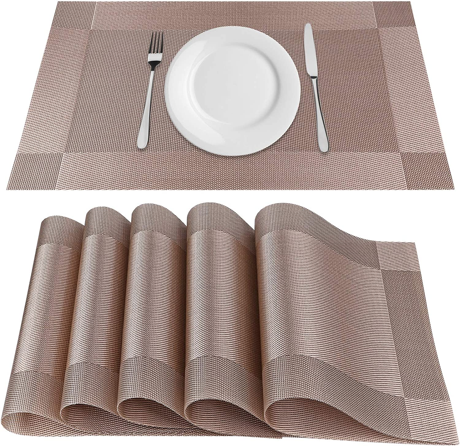 BESTWIN Placemats for Dining Table Mats Set of 6 Heat-Resistant Place mats StainAnti-Skid Washable Easy to Cleaning Woven Vinyl Placemats for Kitchen