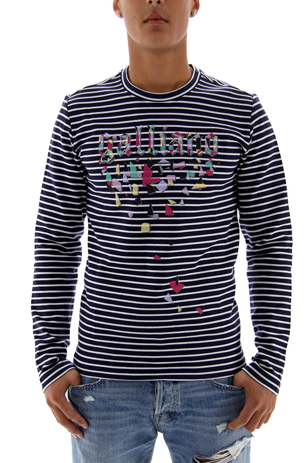 John Galliano Men's Sweatshirt Blau Weiss XS