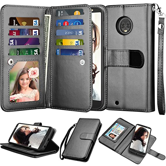 info for 96de6 b98a3 Njjex for Mote G6 Wallet Case, for Motorola Moto G6 2018 Case, Luxury PU  Leather [9 Card Slots] ID Credit Folio Flip Cover [Detachable][Kickstand]  ...
