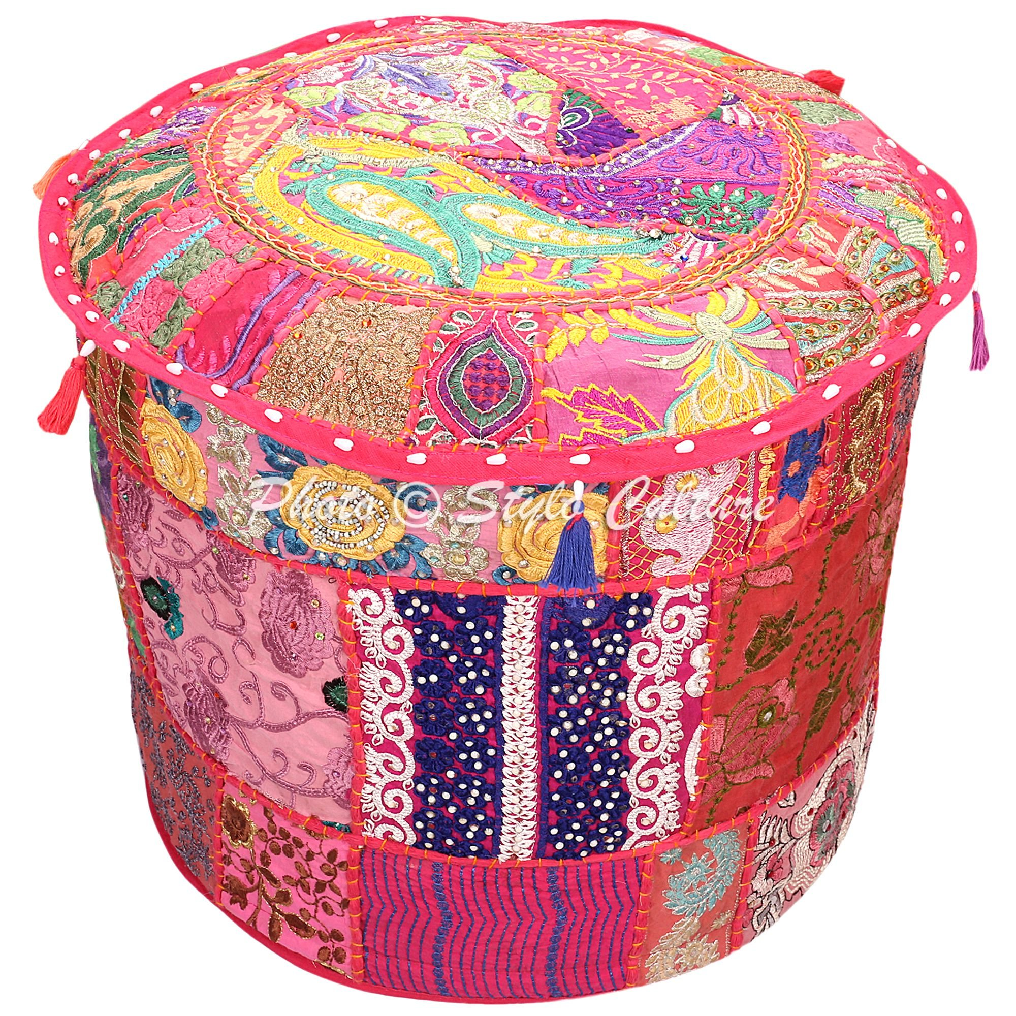 Stylo Culture Bohemian Round Pouf Ottoman Cover Indian Patchwork Embroidered Pouffe Ottoman Cover Pink Cotton Floral Traditional Furniture Footstool Seat Puff Cover (18x18x13)