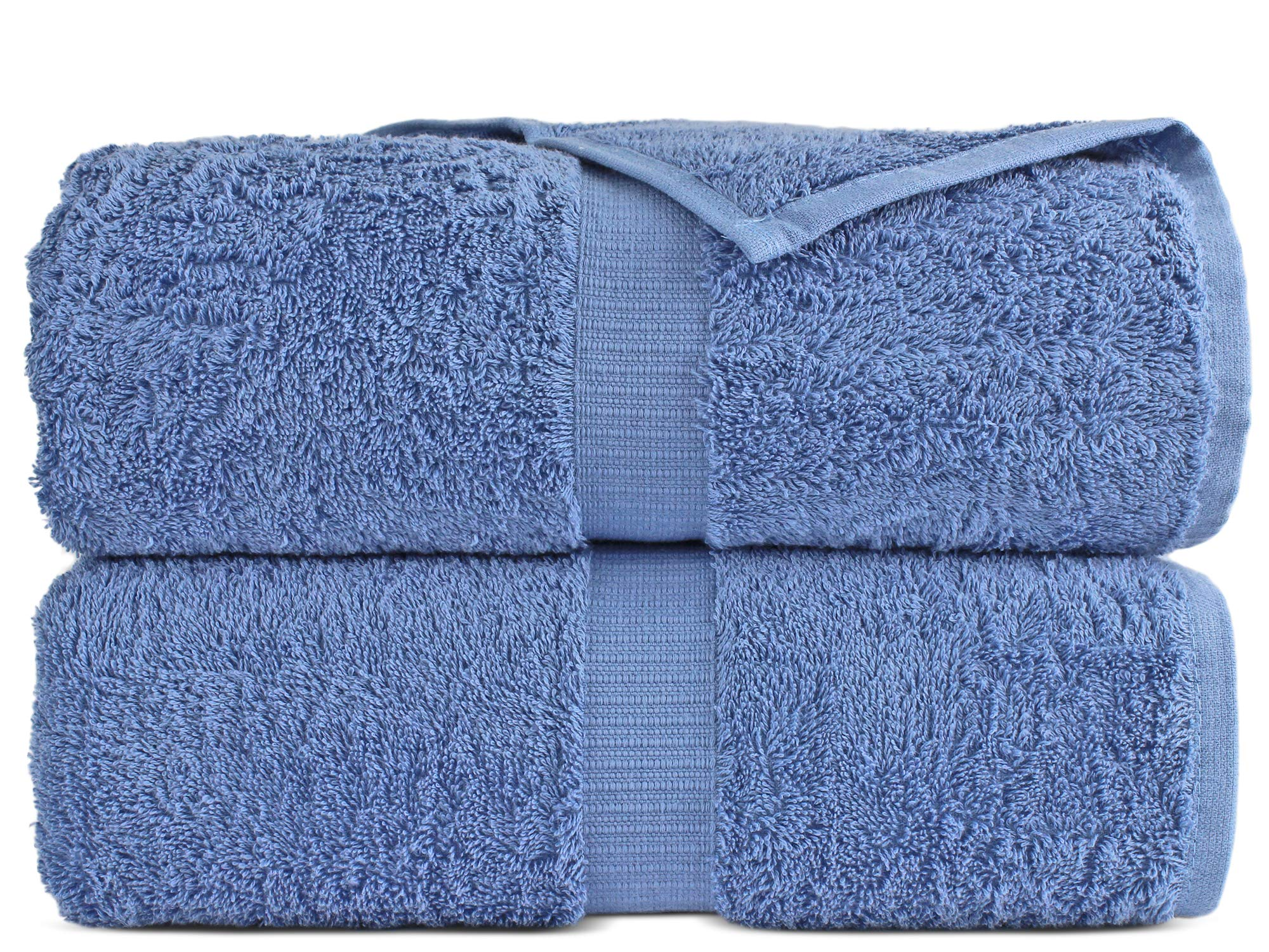 100% Luxury Turkish Cotton, Eco-Friendly, Soft and Super Absorbent 35'' x 70'' Large Bath Sheets (Wedgewood, Set of 2)