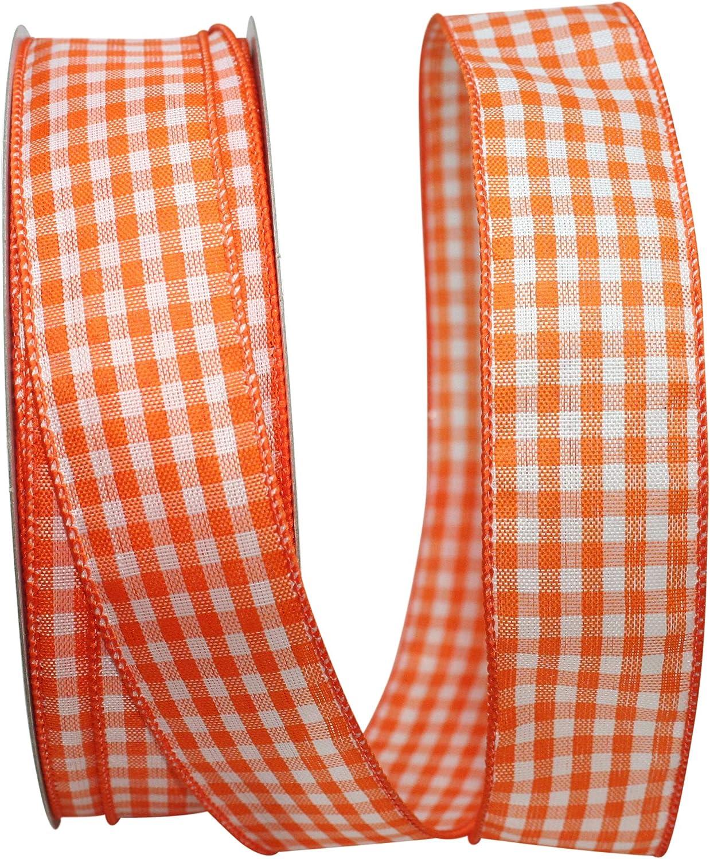 Orange Reliant Ribbon 93239W-058-09K Gingham Check Bright Value Wired Edge Ribbon