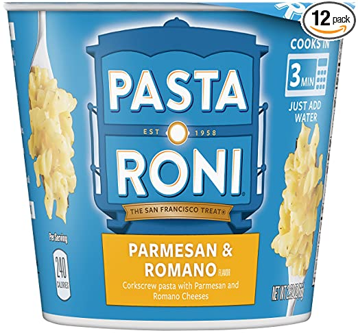 Pasta Roni Cups, Parmesan & Romano Cheese Pasta Mix (Pack of 12 Cups)