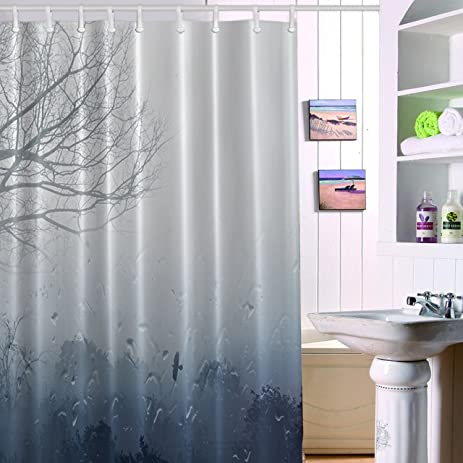 Shower Curtain Rainbrace 71x71 Inch Long Mildew Antibacterial Odorless Waterproof 3D