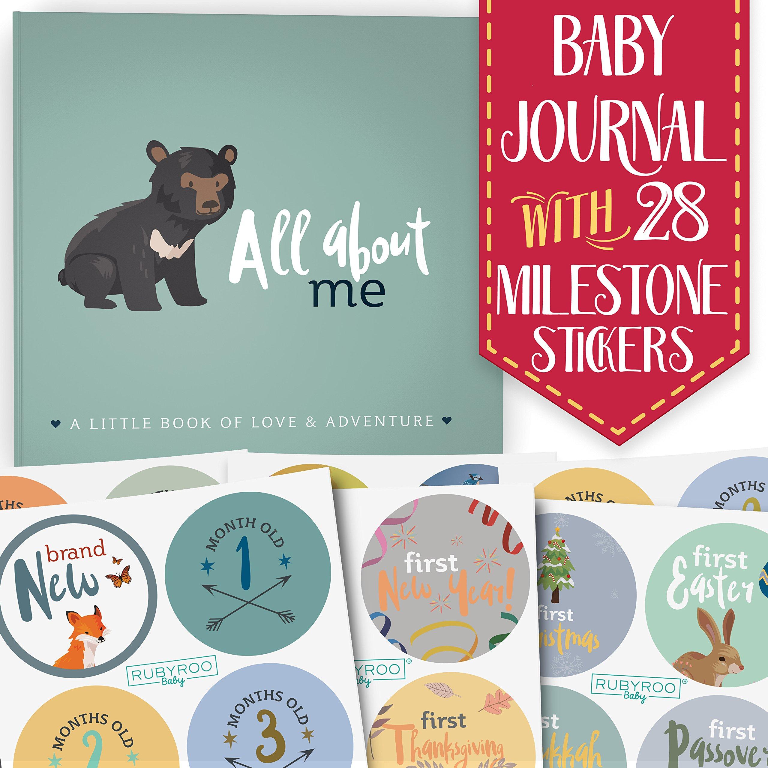 First Year Baby Memory Journal Book + Bonus Monthly Milestone Stickers. Baby Shower Gift + Keepsake to Record Photos + milestones. Five Year Scrapbook + Picture Album. Boy + Girl Babies. (Woodland)