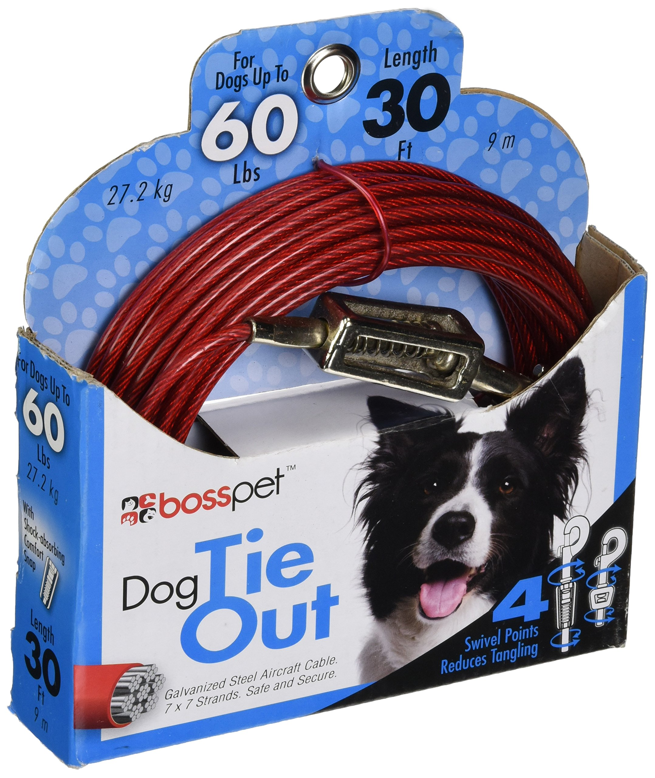 Boss Pet Products Q3530 SPG 99 Cable Dog Tie Out 30 Large