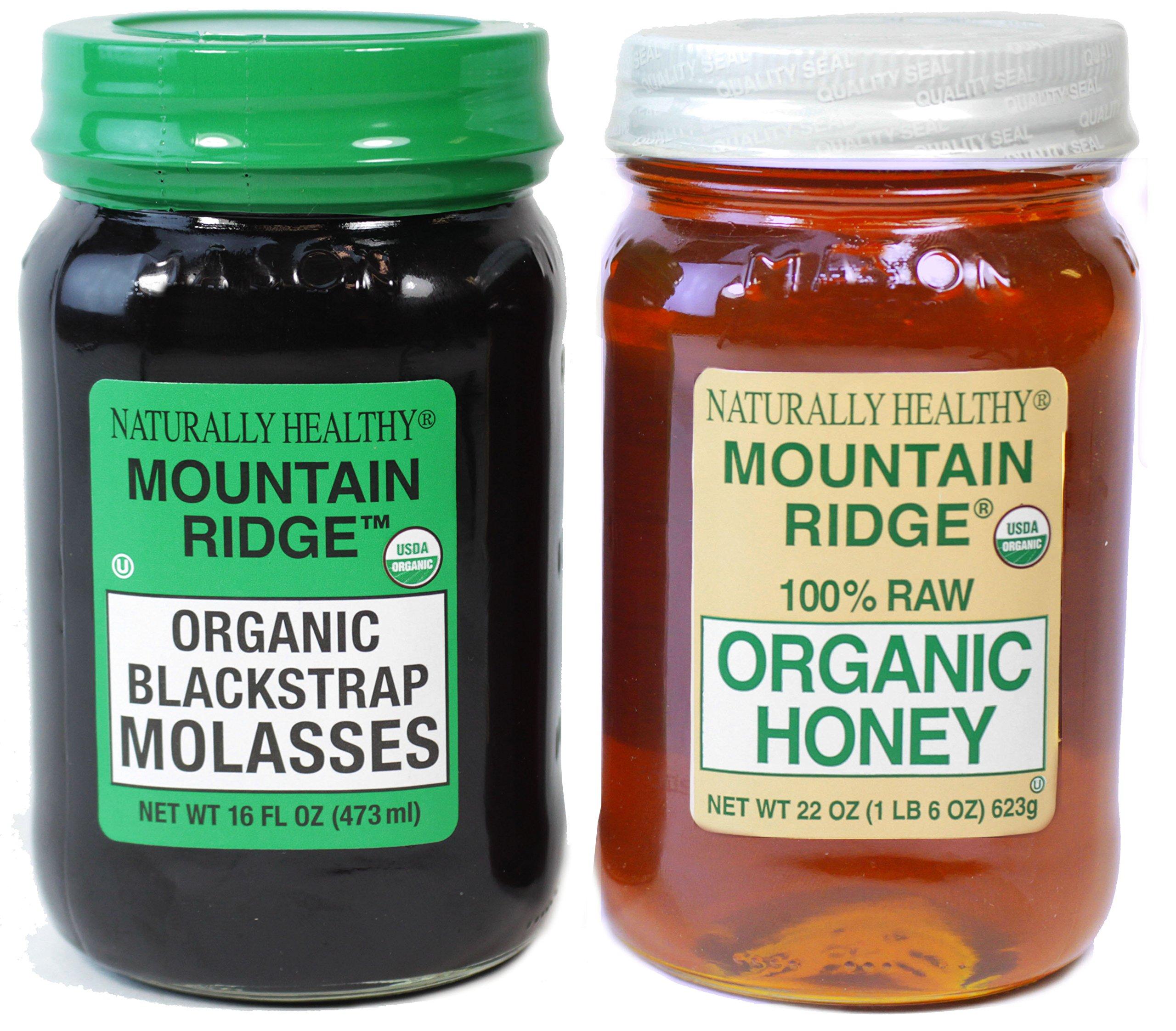 Naturally Healthy Mountain Ridge USDA Organic Combo: Organic Honey (22 Oz) and Organic Blackstrap Molasses (16 Fl Oz) in Glass Mason Jars
