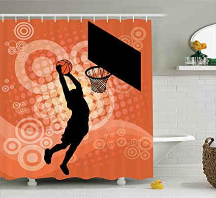 Ambesonne Basketball Shower Curtain Player Silhouette Athlete Competition Championship Promotion Fabric Bathroom Decor