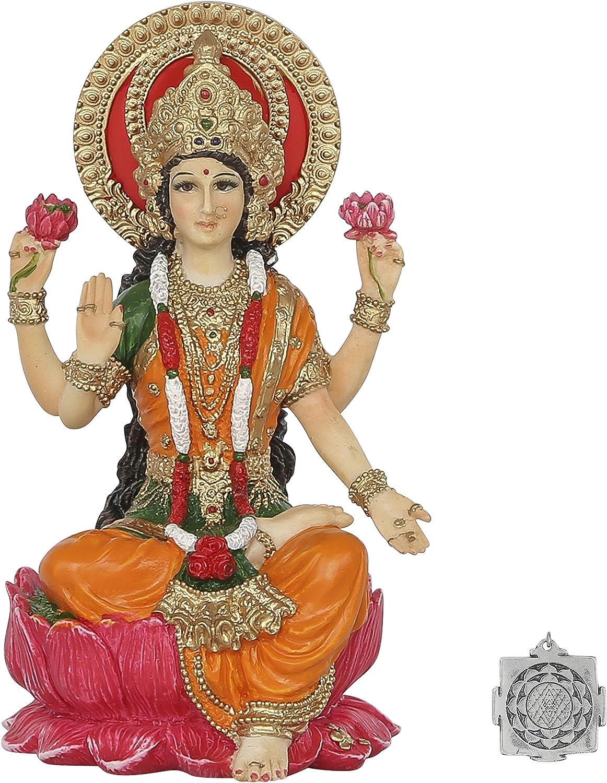 4 Pulgadas de Alto Estatua Lakshmi Pintada a Color de la Diosa hind/ú de la Riqueza y la Prosperidad ~ Adorno de Lotus Sri Yantra Lakshmi Kit de Suministro de Altar