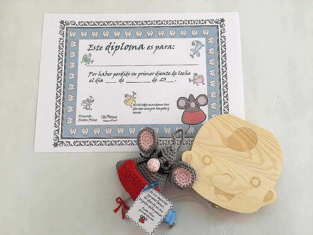 Ratoncito Pérez guardadientes con Diploma de su primer diente caído, caja de recuerdo para guardar los dientes y colgante de regalo para guardar el diente caído.: Amazon.es: Handmade