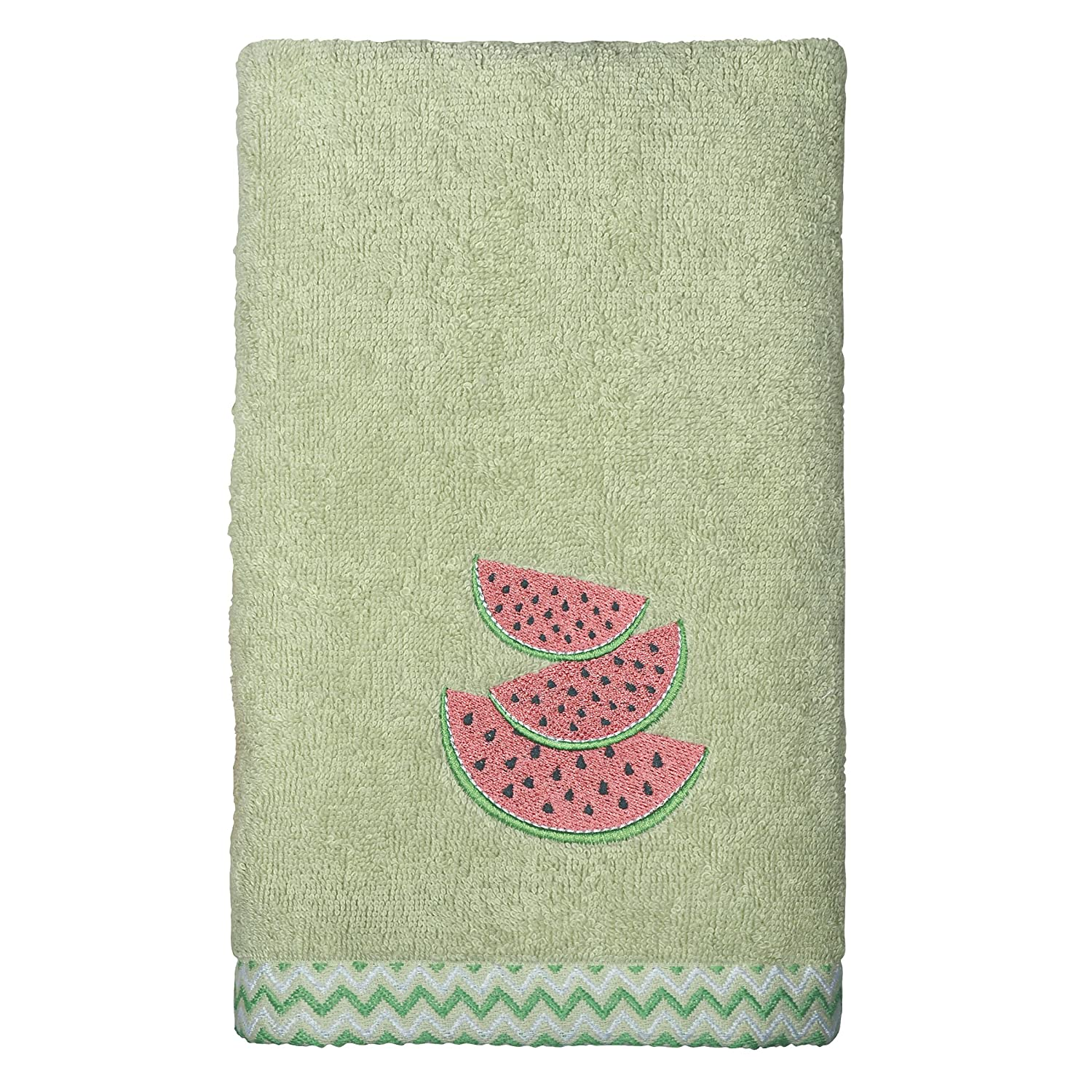 Peri Home Watermelon Embroidered Hand Towel Green 15x 26 100Percent Cotton Bordered 15x 26 CHF Industries 3T91470HGR