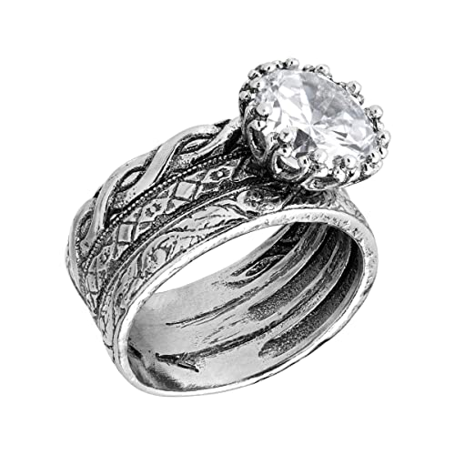 Silpada Bristol Cubic Zirconia Textured Ring in Sterling Silver