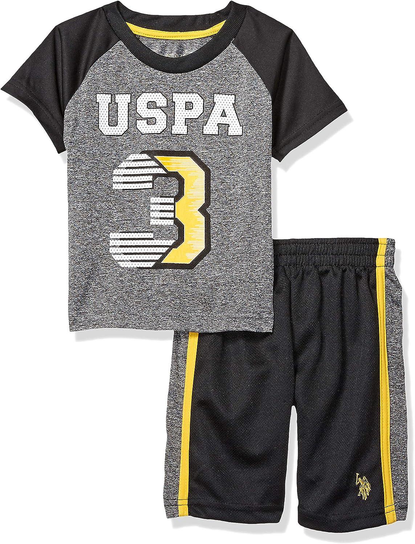 Boys 2 Piece Sleeve Athletic T-Shirt and Short Set U.S Polo Assn