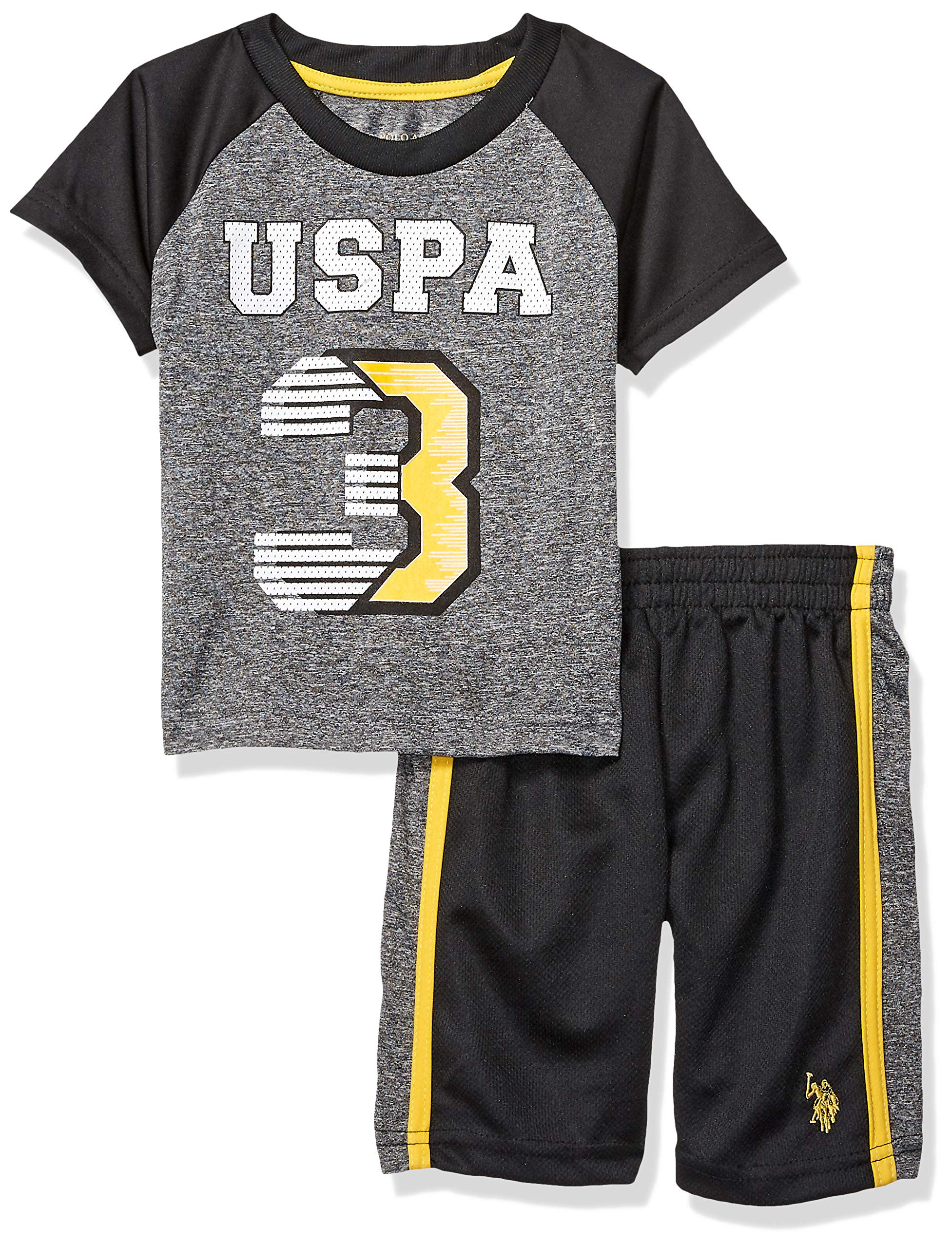 U.S. Polo Assn. Boys' Little 2 Piece Sleeve Athletic T-Shirt and Short Set, Gold, 7