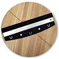 Checkered Chef Premium Pizza Cutter and Cutting Board Set - Rocker Blade With Protective Cover And Round Wooden Pizza Board