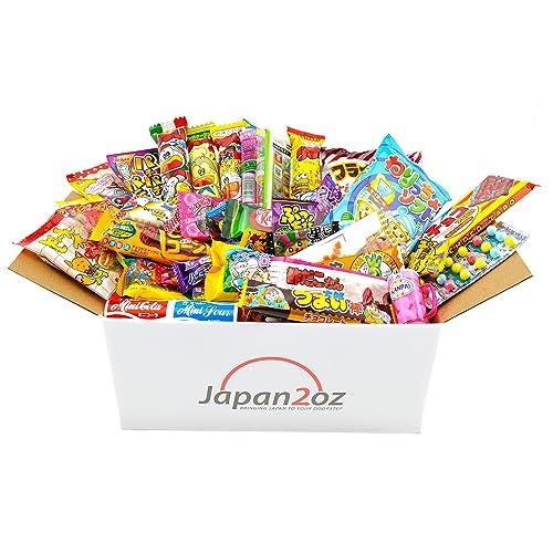 Japanese Candy Box Assortment 40 Dagashi Snacks & Sweets, Gum, Gummies, Ramune Christmas Gift