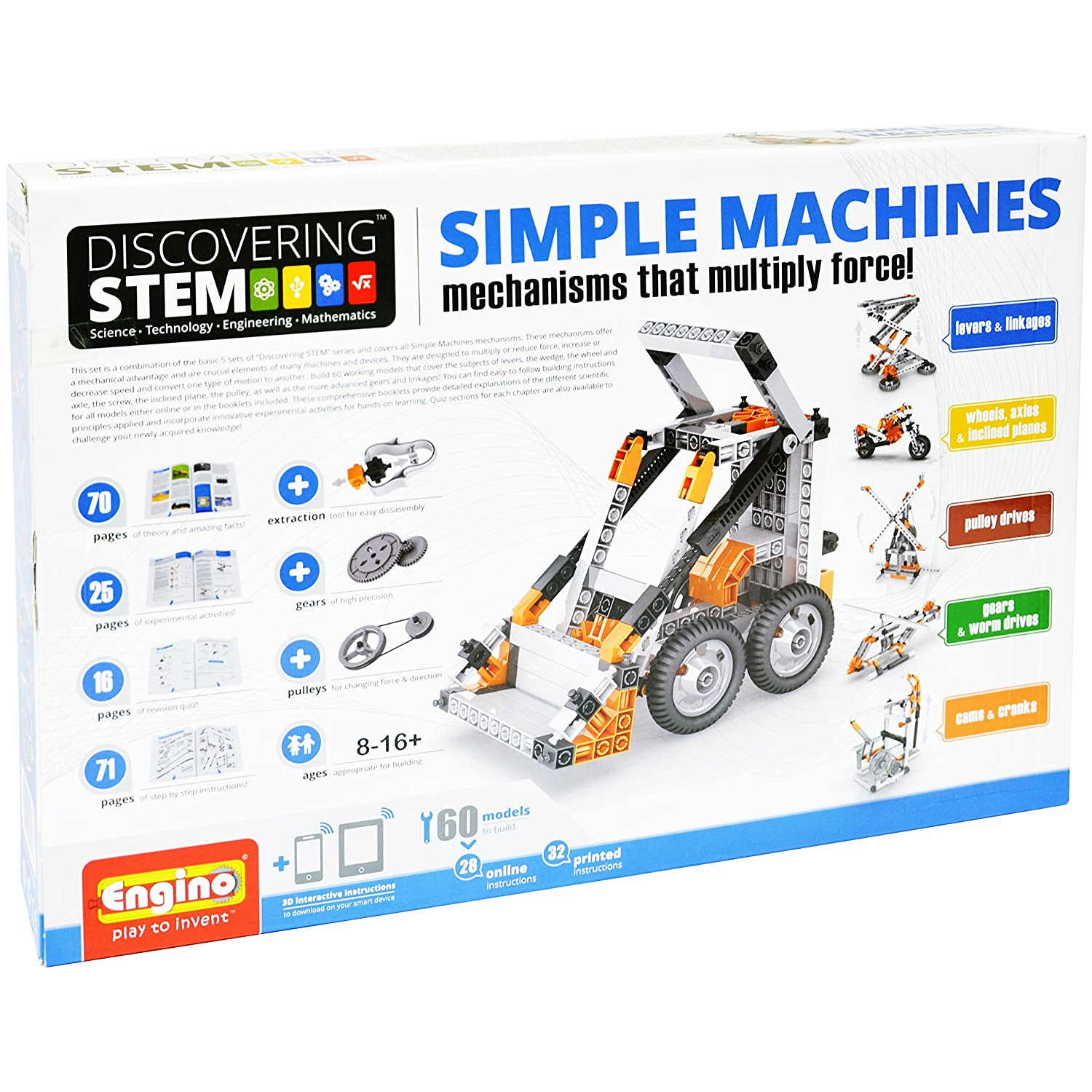 Engino Discovering STEM Simple Machines Mechanisms That Multiply Force | 60 Working Models