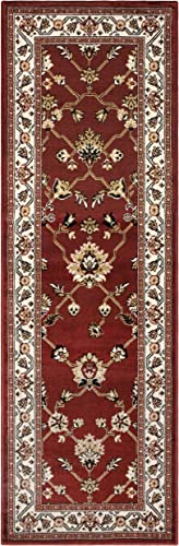 Superior 8mm Pile Height with Jute Backing, Classic Bordered Rug Design, Anti-Static, Water-Repellent Rugs, 2 7 x 8 Runner, Red