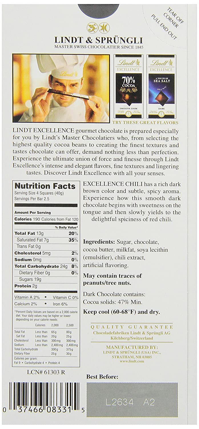 Amazon.com : Lindt Excellence Chili Dark Chocolate Bar, 3.5-Ounce ...