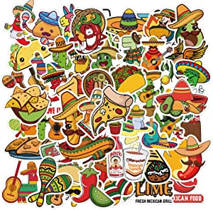 DUANG 100PCS Mexican Food Stickers Cute Food Stickers Vinyl Waterproof Stickers for Water Bottle Fridge Computer Laptop Decoration
